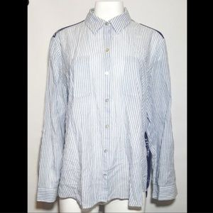 Chico's Blouse Blue Stripe Sheer Button Down
